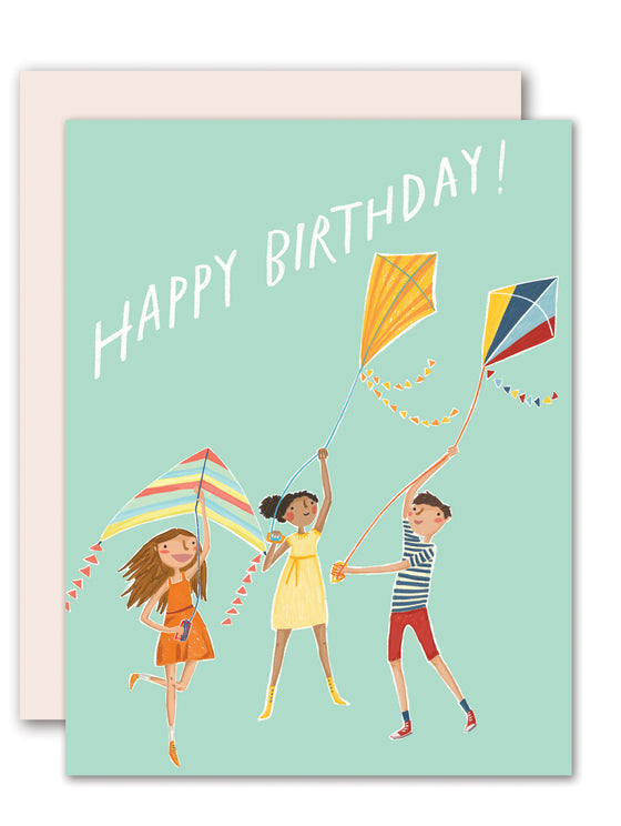 Flying a kite - birthday card