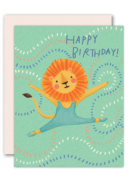 Lion Ballerina Birthday Card