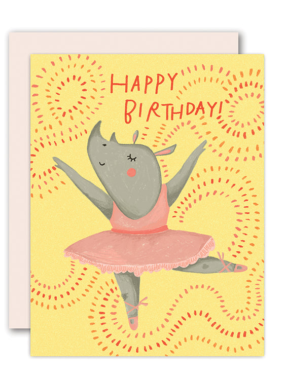 Rhino Ballerina Birthday Card