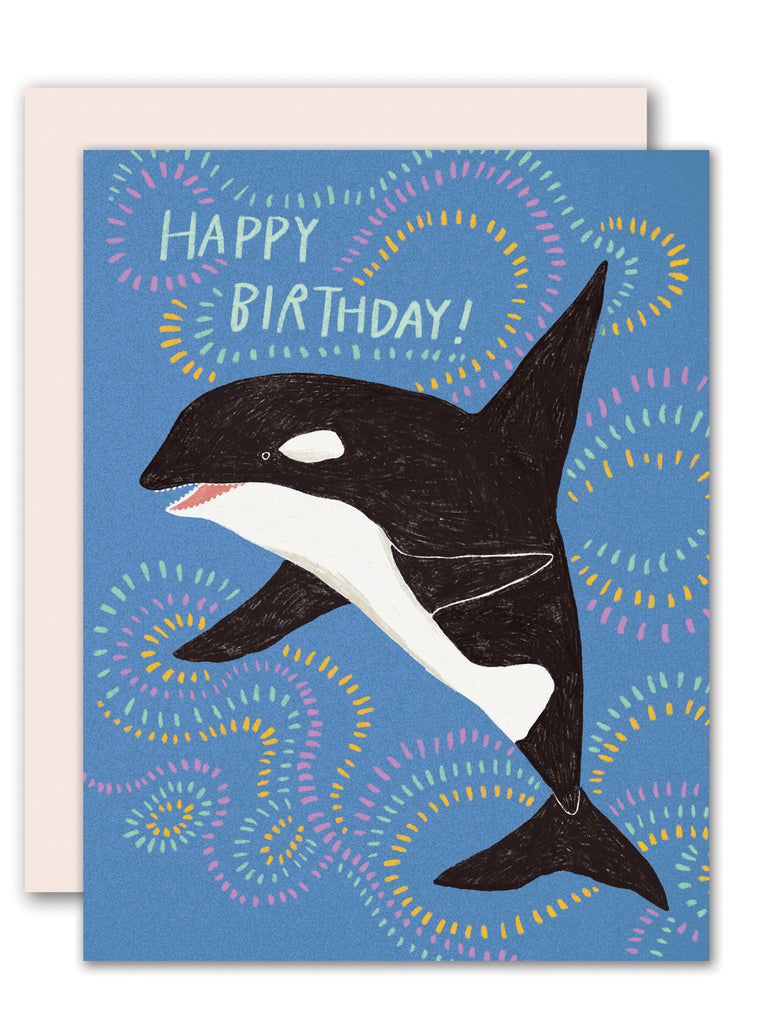 Orca / killer whale - kid's birthday card