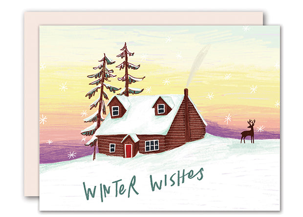 Winter cabin Christmas Card