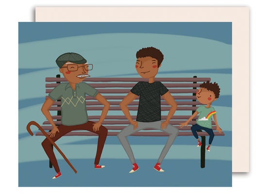 On a Bench - Happy Father's Day Card