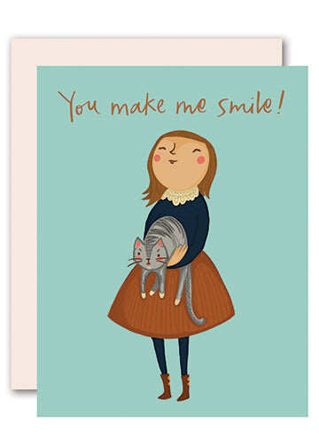 You make me smile! - funny cat card for all occasions