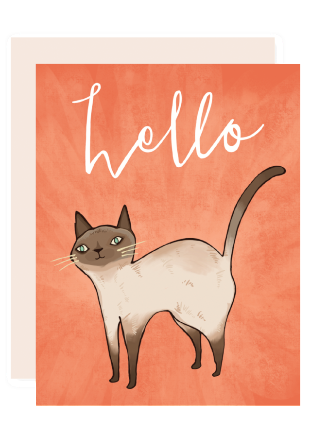 Hello Cat Greeting Card