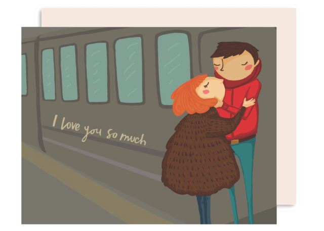 Train couple Romance Card - anniversary or valentines