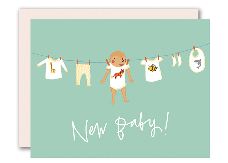 Baby on Clothesline - Boy - baby card