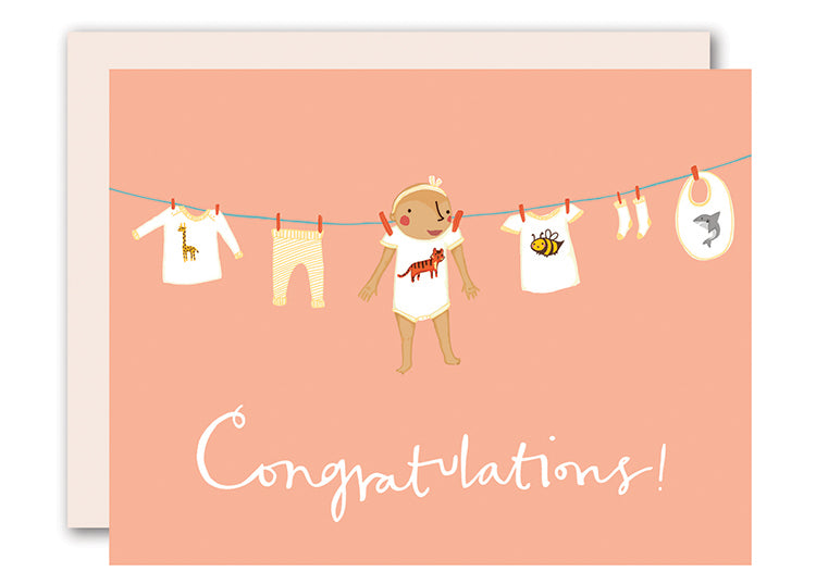 Baby on clothesline - Girl - newborn card