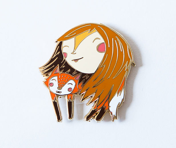 Fox Lady Enamel Pin