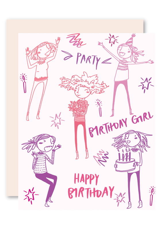 Girl Party Birthday Greeting Card