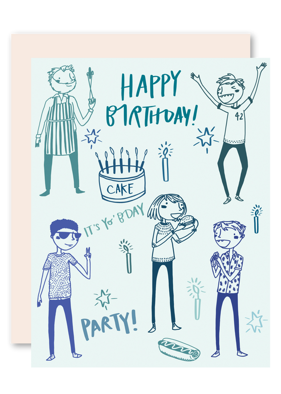 Guy Party Birthday Greeting Card