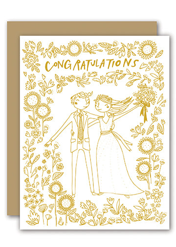 Wedding Congratulation Greeting Card With Gold Foil