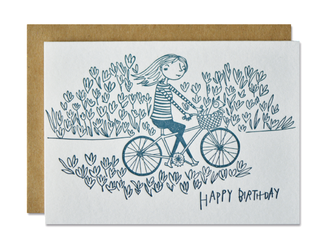 Cycling & happy birthday card in letterpress