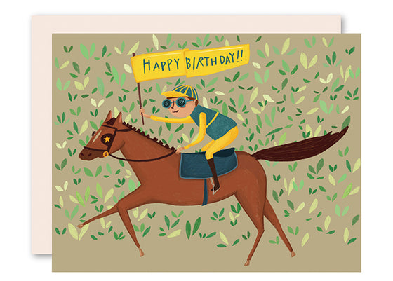 Race horse birthday card