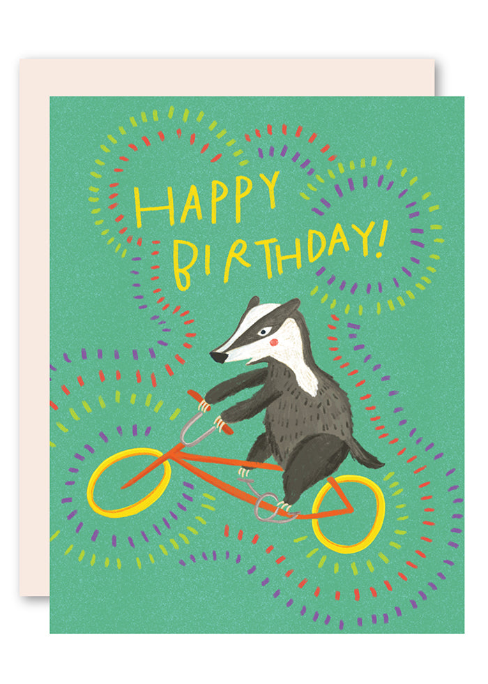 Badger on bike birthday card