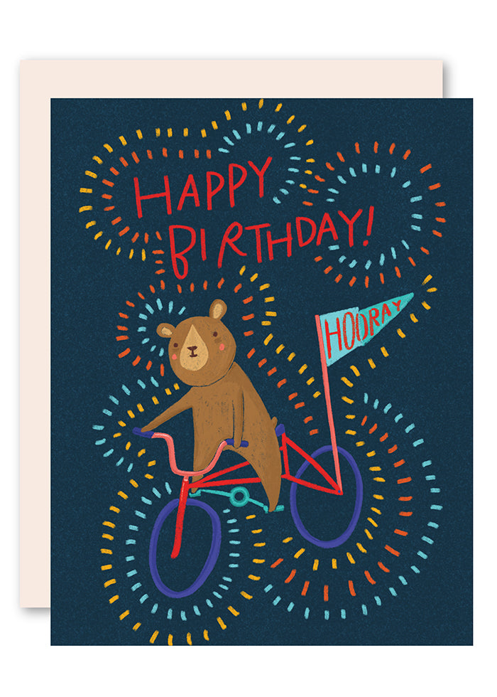 Bear on bike birthday card