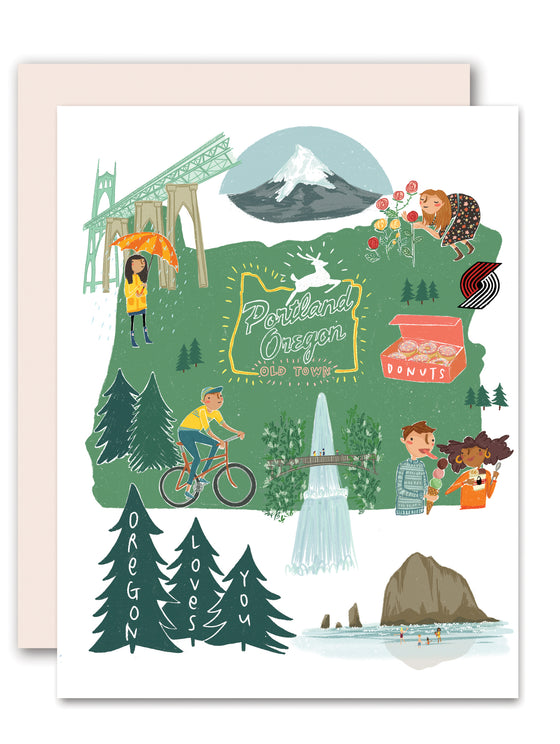 Oregon Loves You Greeting Card
