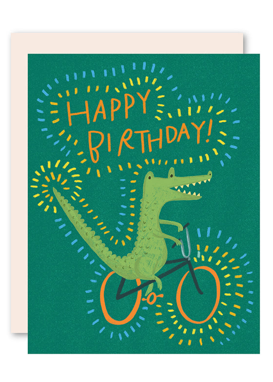 Crocodile on bike birthday card