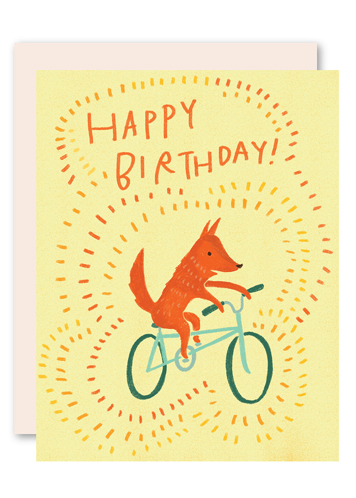 Fox on bike birthday card
