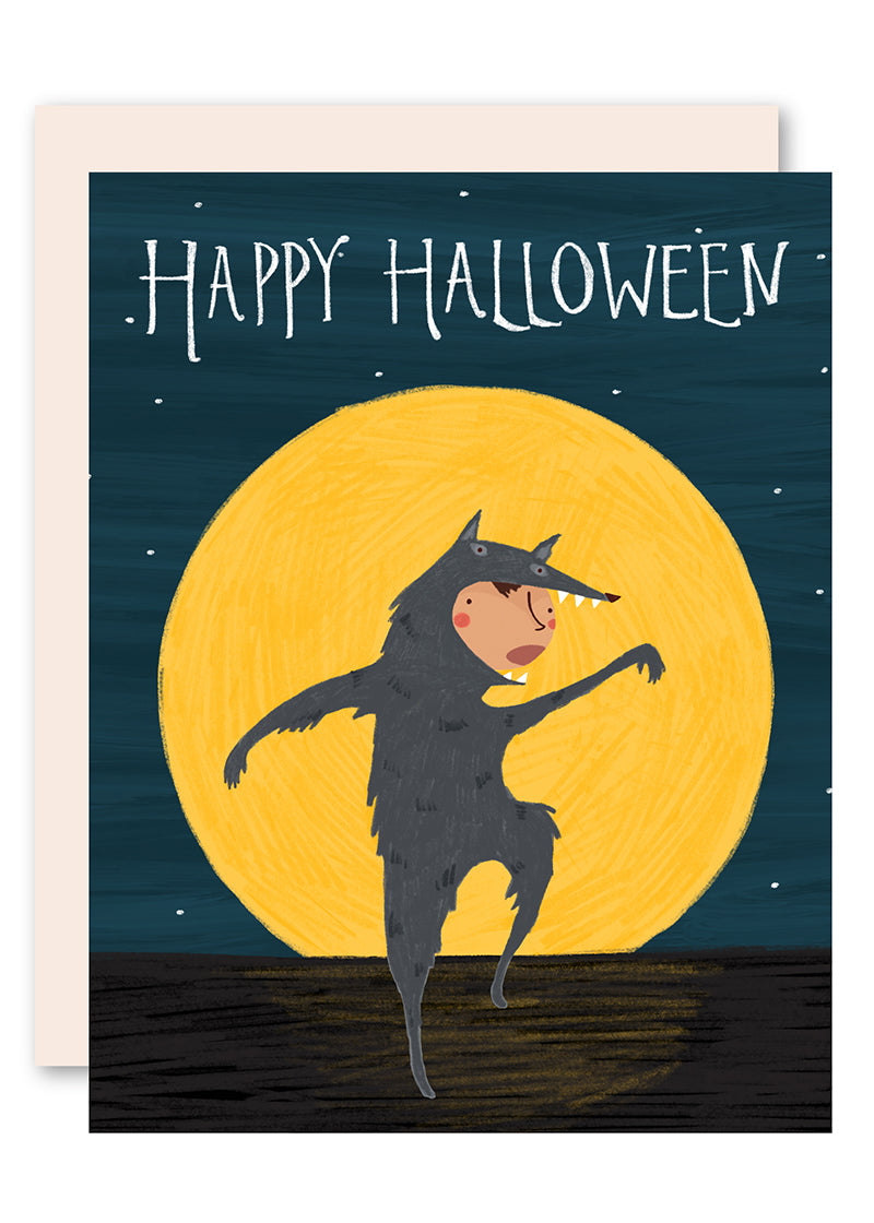 Full Moon Wolf Halloween Card