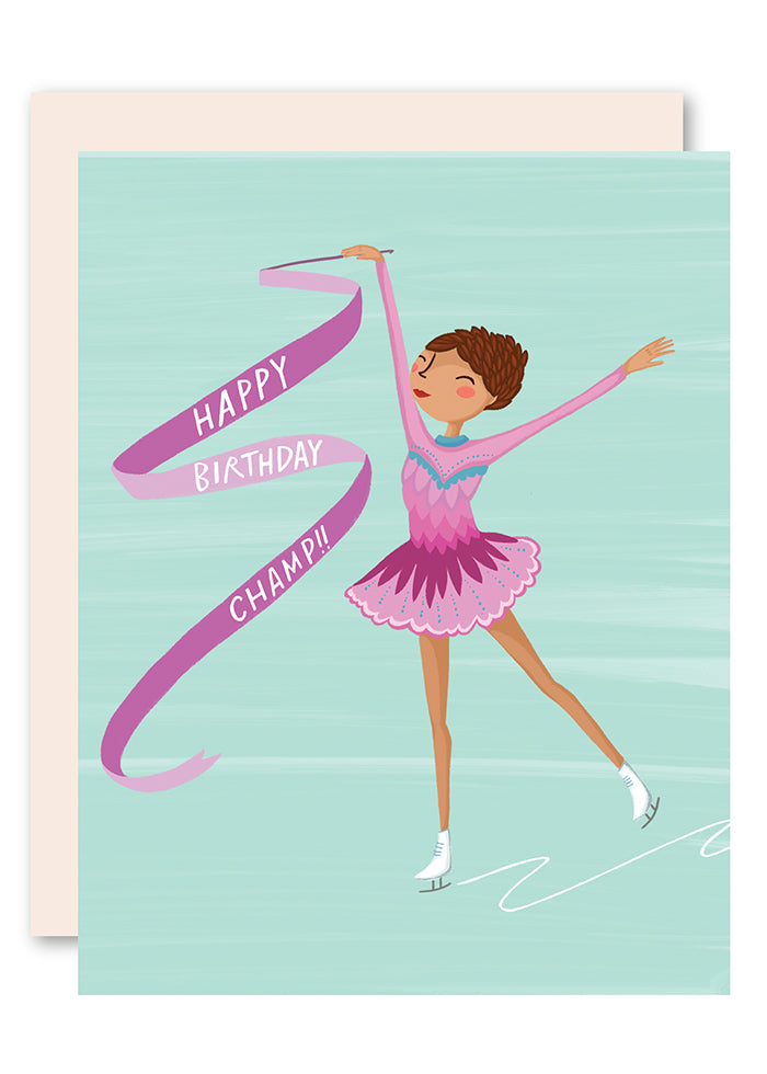Ice skater birthday card