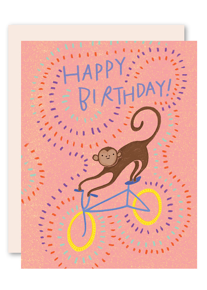 Monkey on bike birthday card