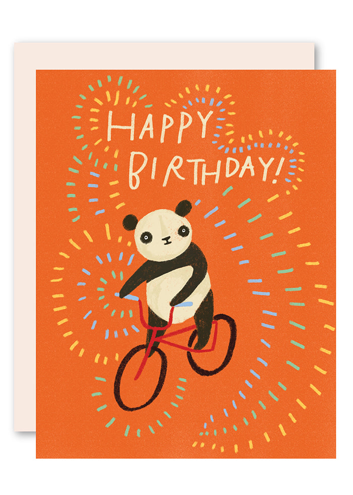 Panda on bike birthday card