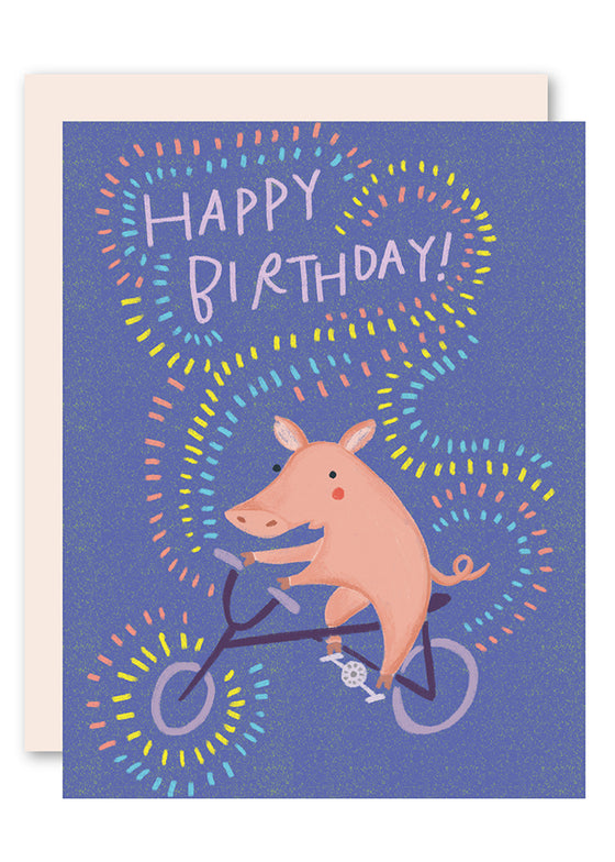 Piggy on bike birthday card