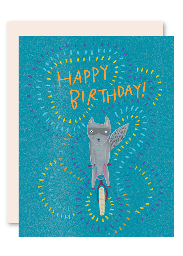 Raccoon on bike birthday card