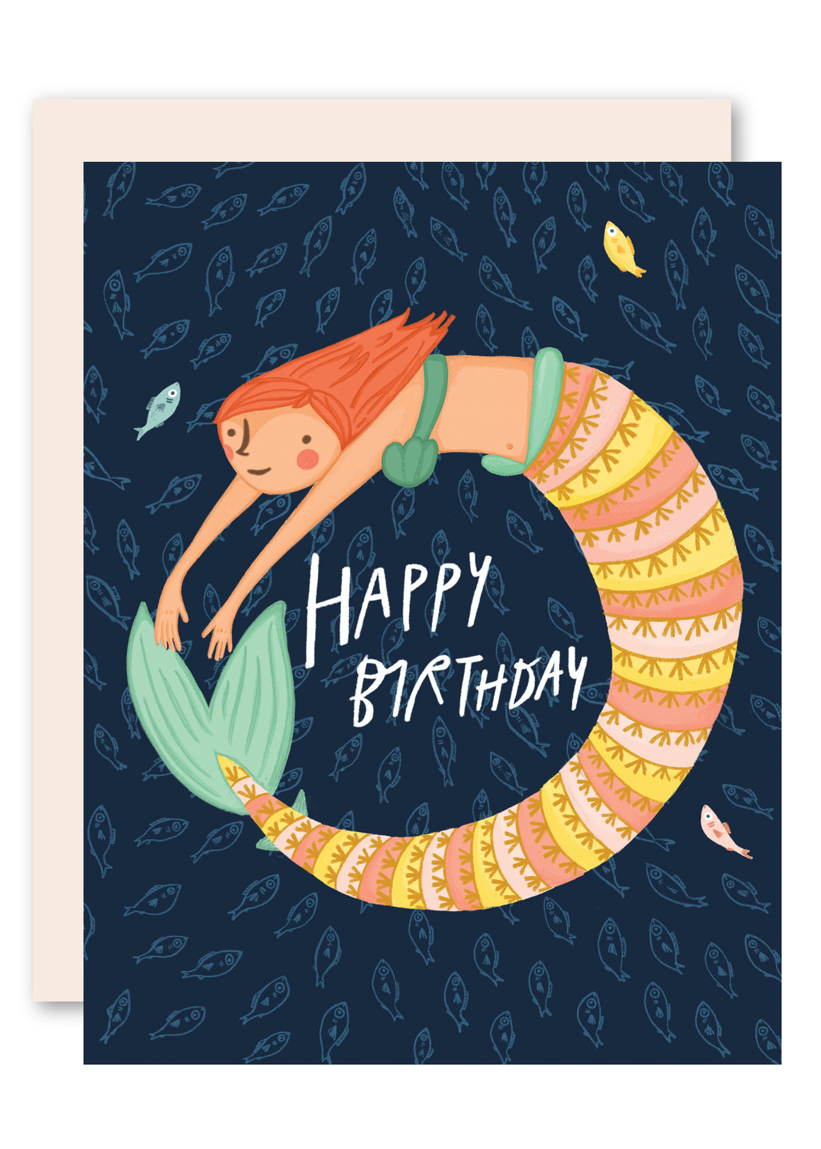 Swimming mermaid birthday card