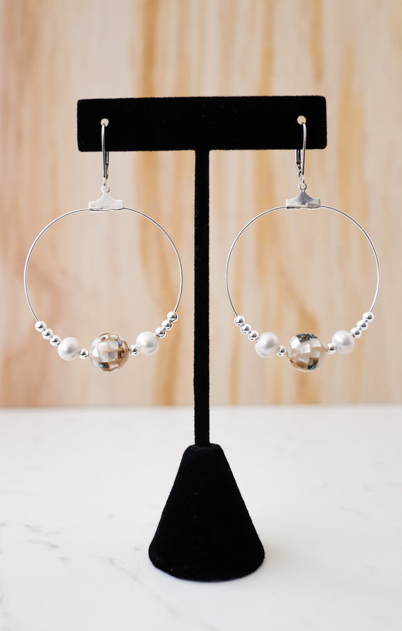 OOAK - Disco Hoop fresh water pearl Silver Earring