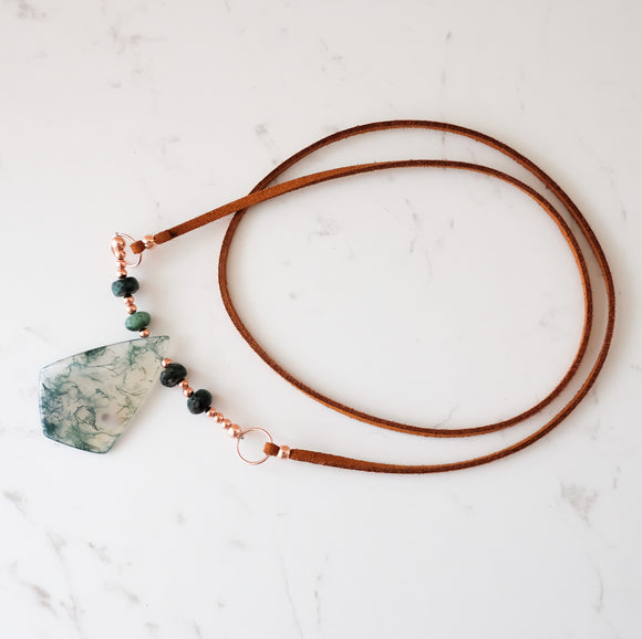 OOAK - Moss Agate boho style necklace