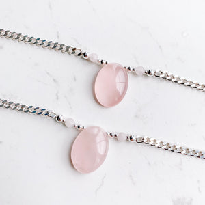 OOAK - Rose Quartz Chain Necklace