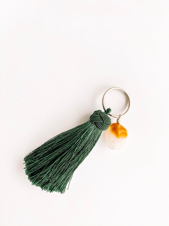 OOAK tassel key chain w/ gemstone