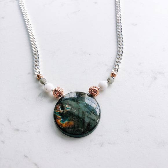 OOAK - round labradorite chain necklace