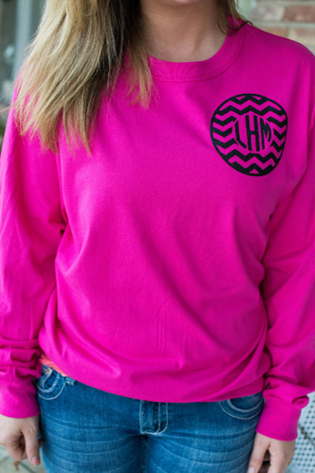 Glitter Monogram Long Sleeved Tee