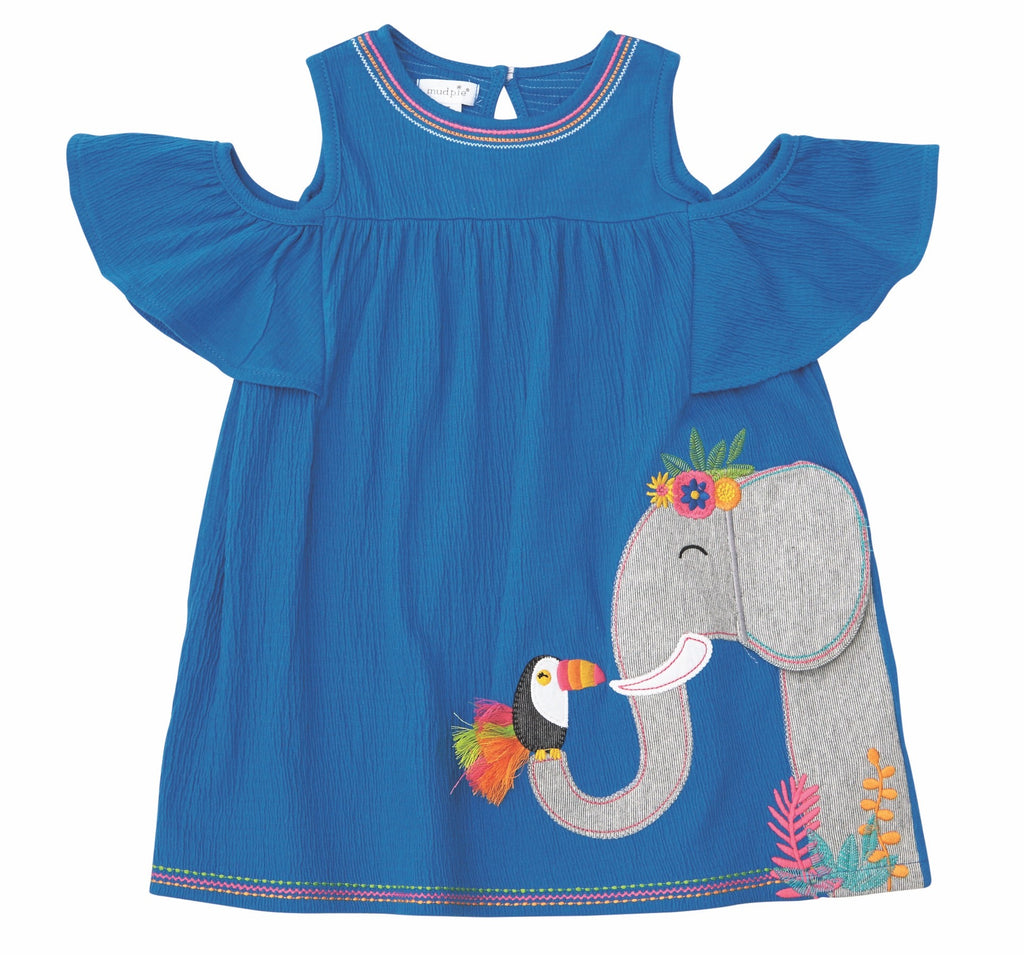Mud Pie Wild at Heart Elephant Cold Shoulder Dress