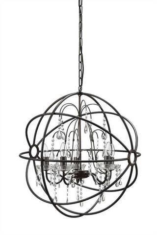 Iron Orb Chandelier with Crystals
