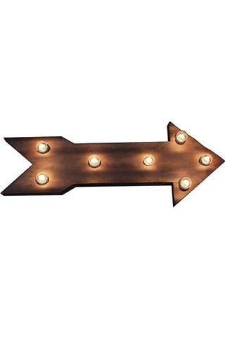 Metal Arrow Sign Wall Lamp Creative Co-Op