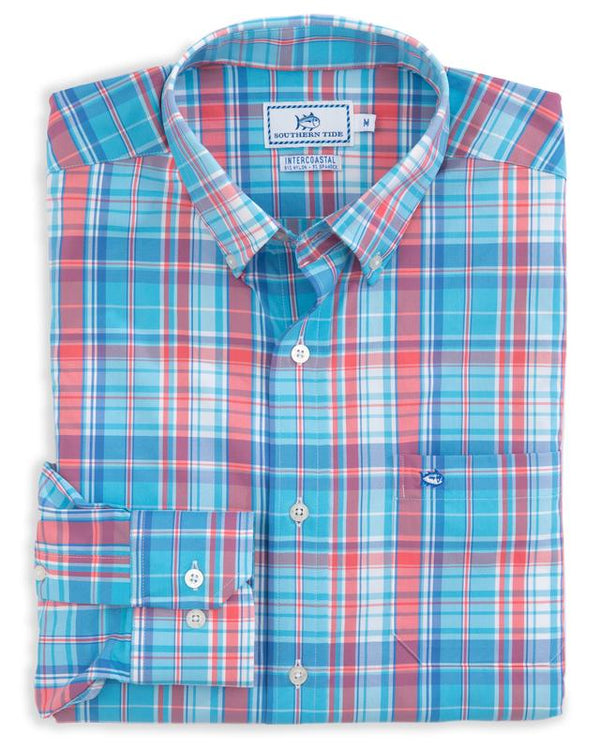 Long Sleeve Bellevue Plaid Intercoastal Performance Shirt By Southern Tide
