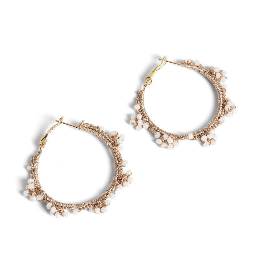 Coco + Carmen Champagne Brunch Caviar Hoop Earrings Khaki