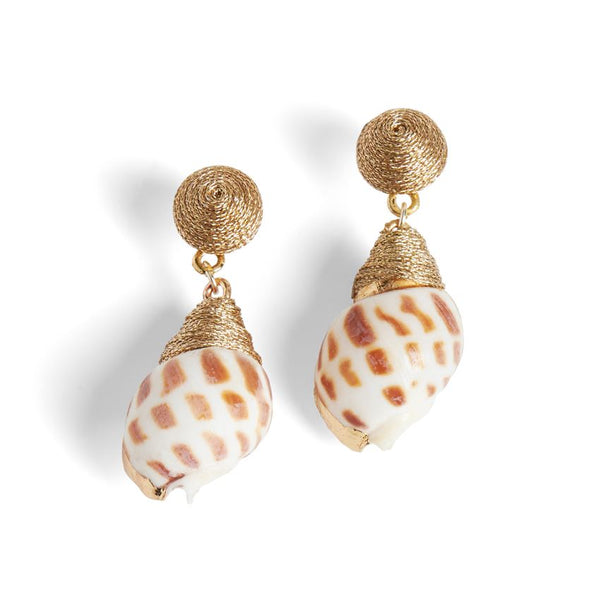 Coco + Carmen Swirl Seashell Earrings White
