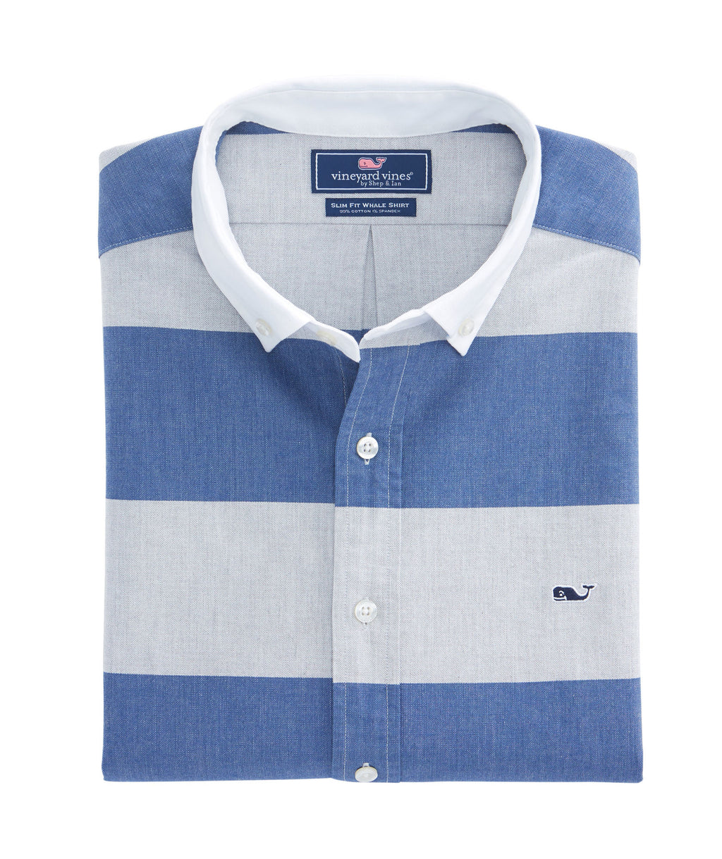 Long-Sleeve Slim Fit Whale Shirt - Millrace Stripe