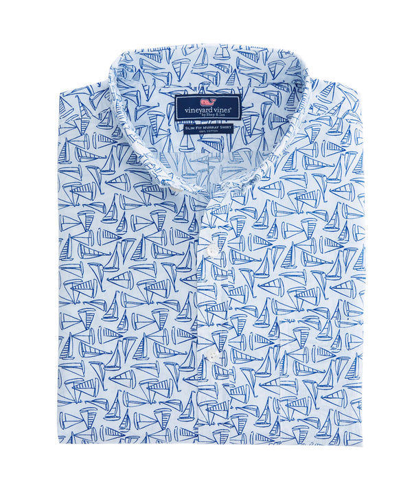 Vineyard Vines Long-Sleeve Slim Fit Murray Shirt - Linear Boat Print