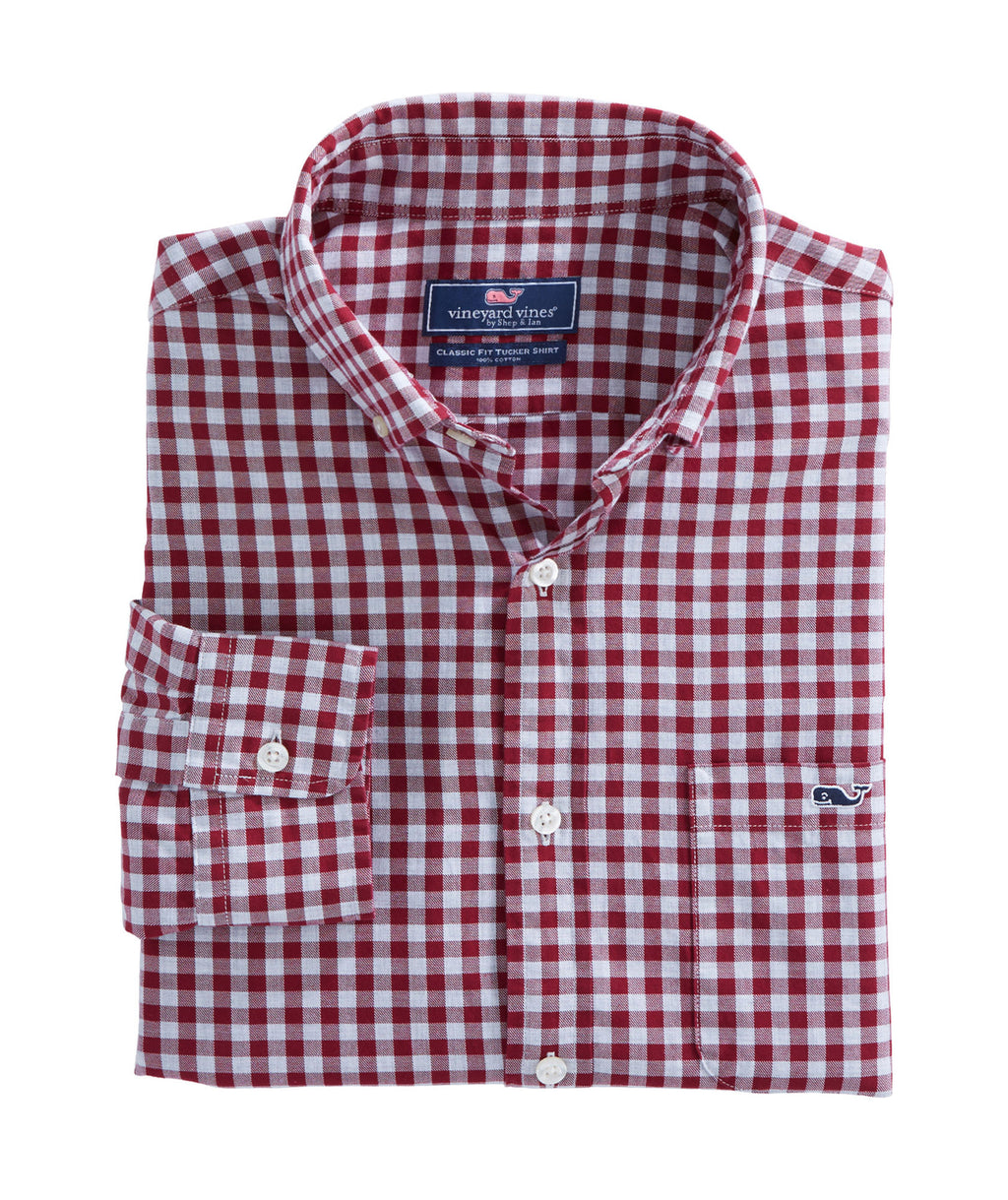 Long-Sleeve Classic Fit Tucker Shirt - Cliff Gingham