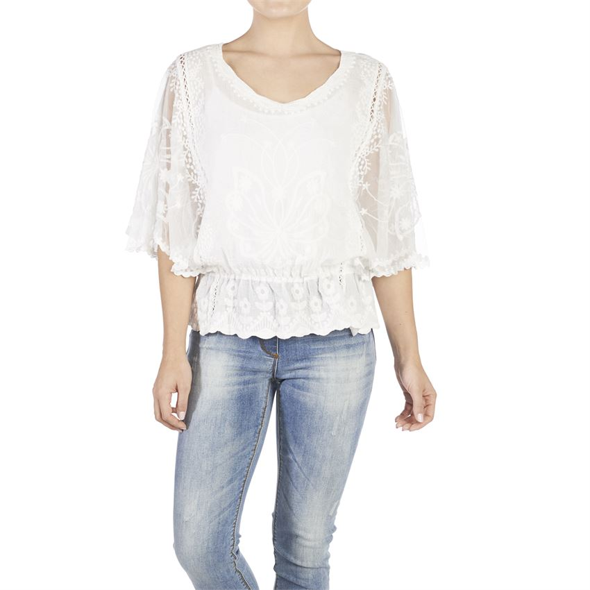 Coco + Carmen Embroidered Flyaway Top White