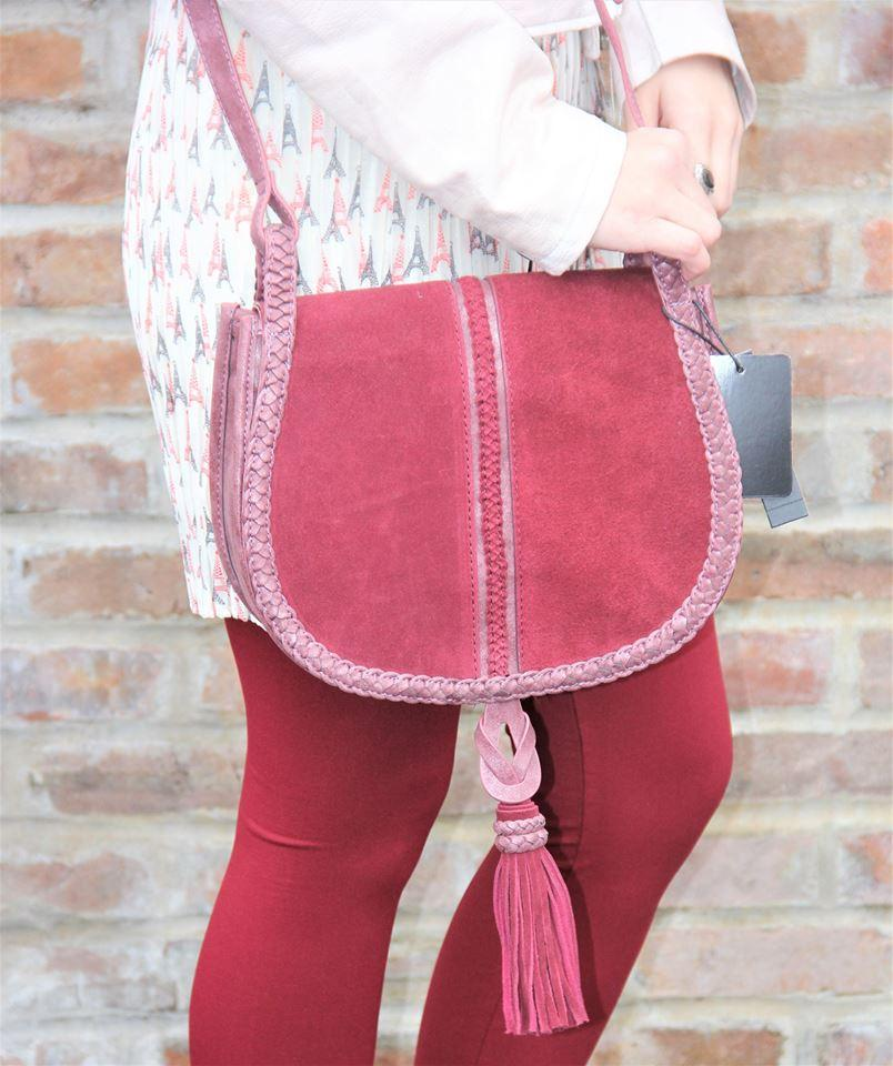 Treviso Unicorn Suede Saddle Crossbody-Wine by Steve Madden