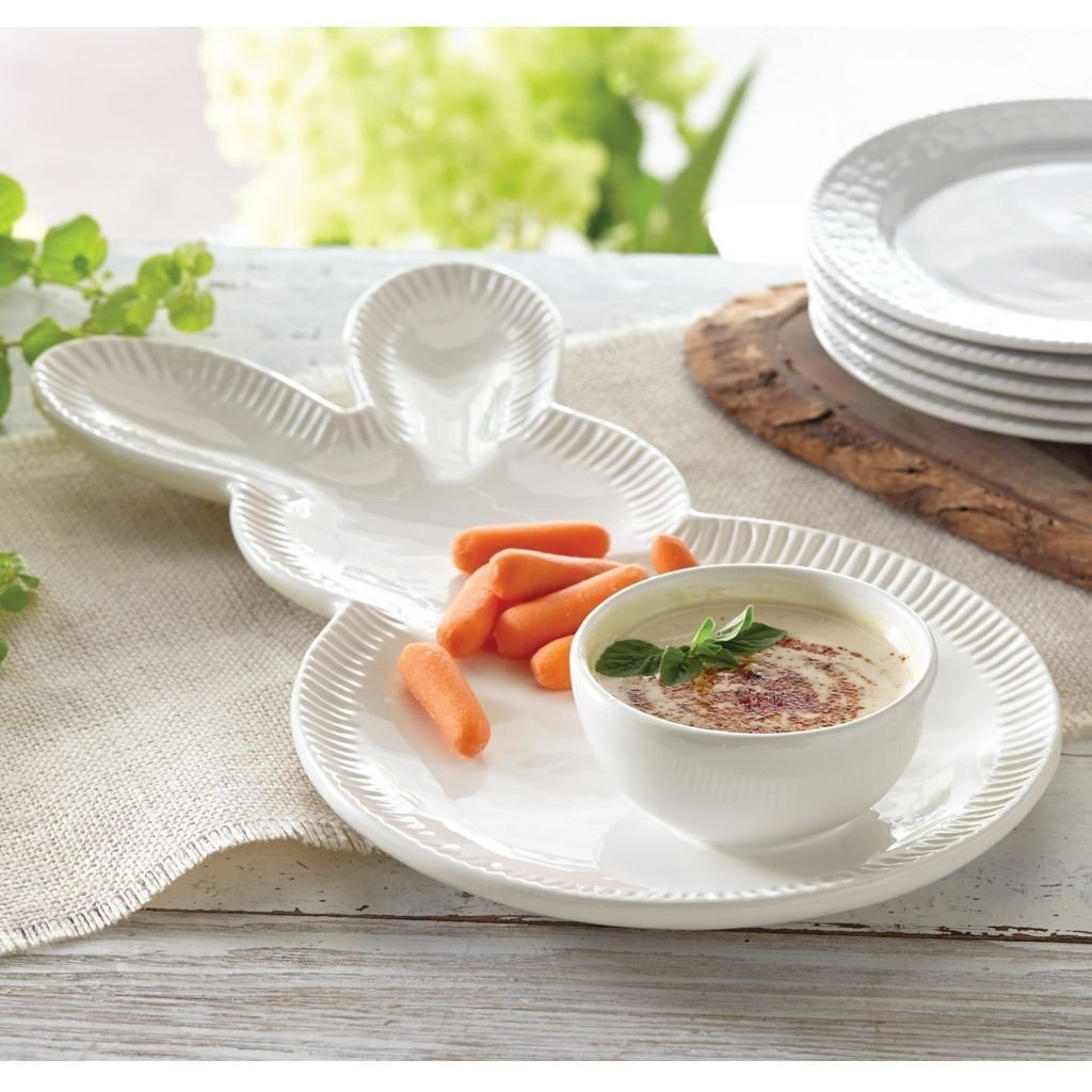 Mud Pie Bunny Chip And Dip Bowl And Tray Set