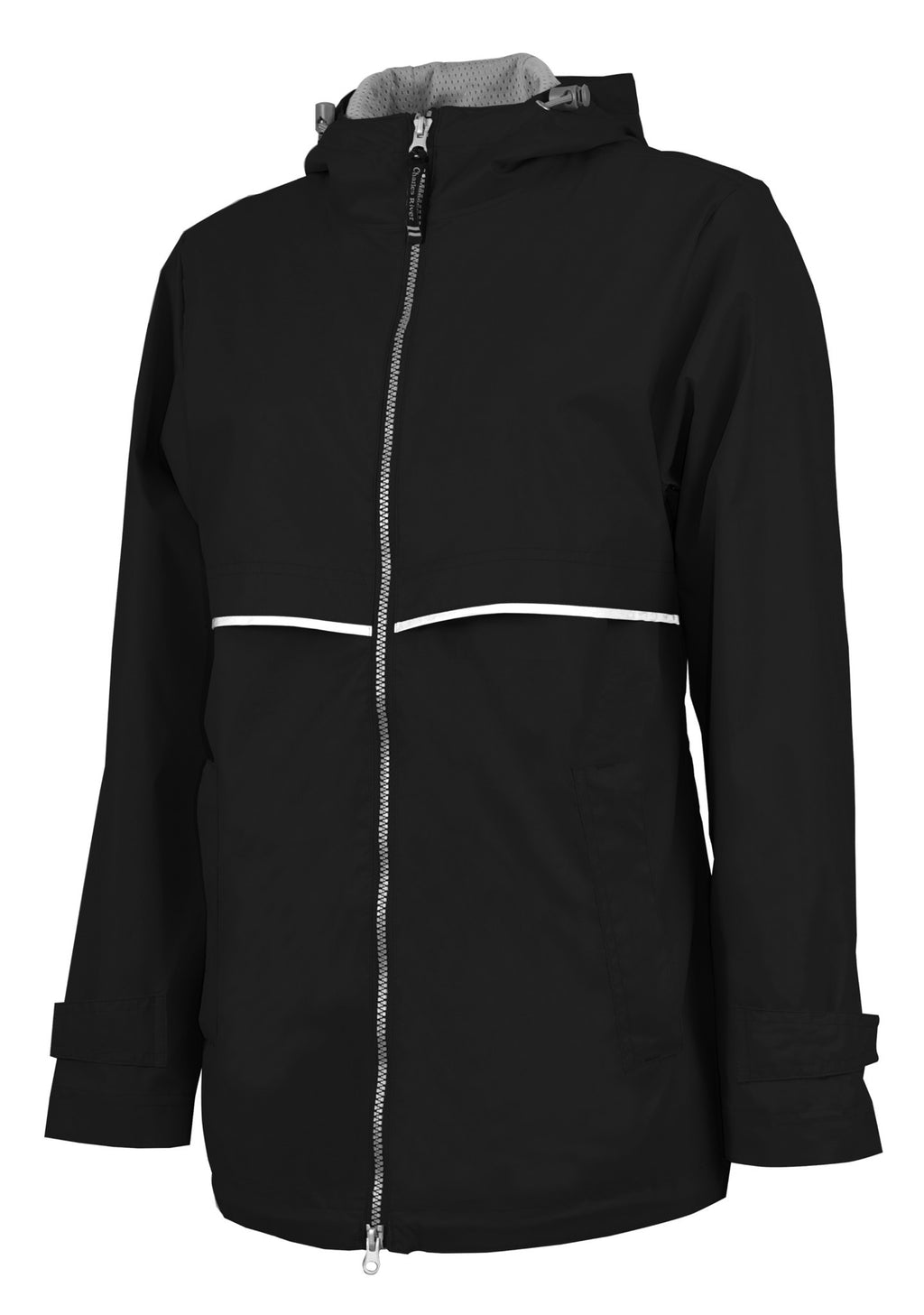 Charles River Rain Jacket w/ Monogram- Fall Colors Black