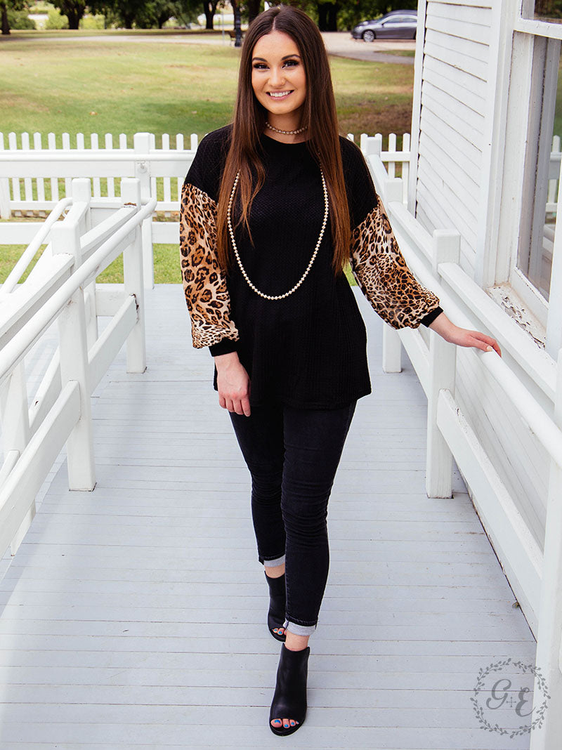 Grace & Emma Best of Friends Long Sleeve Snake Skin or Leopard Top