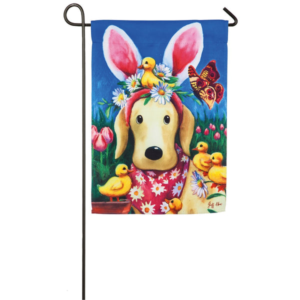 Easter Bunny Ears Dog Suede Garden Flag by Evergreen